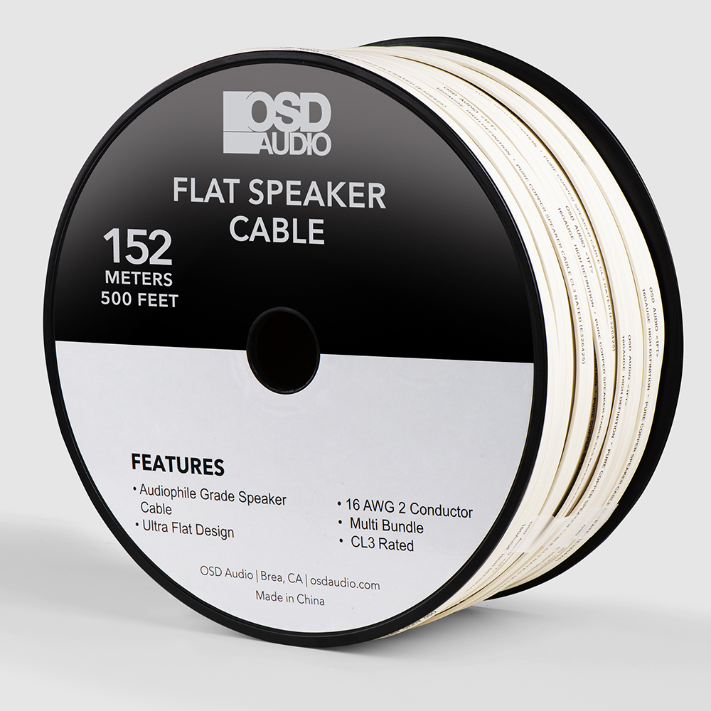 16 Gauge 2-Conductor Oxygen Free, Burial Rated, In Wall or Outdoor Flat Speaker Cable Wire, CL3/ FT4
