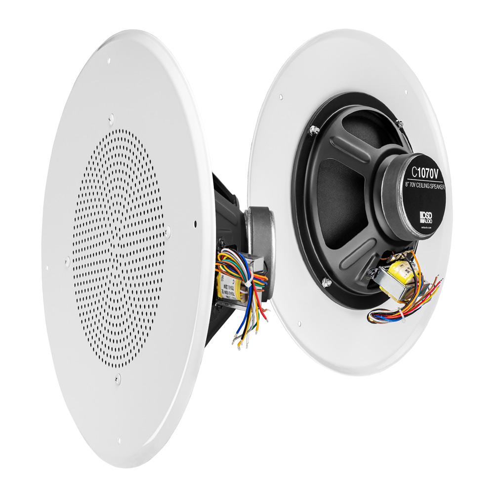 "8"" In-Ceiling 25/70V Commercial Speaker w/ 12"" Grill & 5W, 2.5W, 1.25W, 0.63W, 0.32W Taps - C1070"