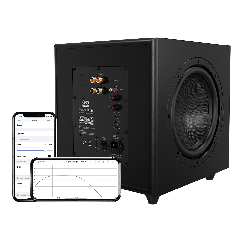 """Trevoce Triple 10"""" Active Subwoofer w/ App Controlled DSP, Native EQ Faux Leather, Black Series"""