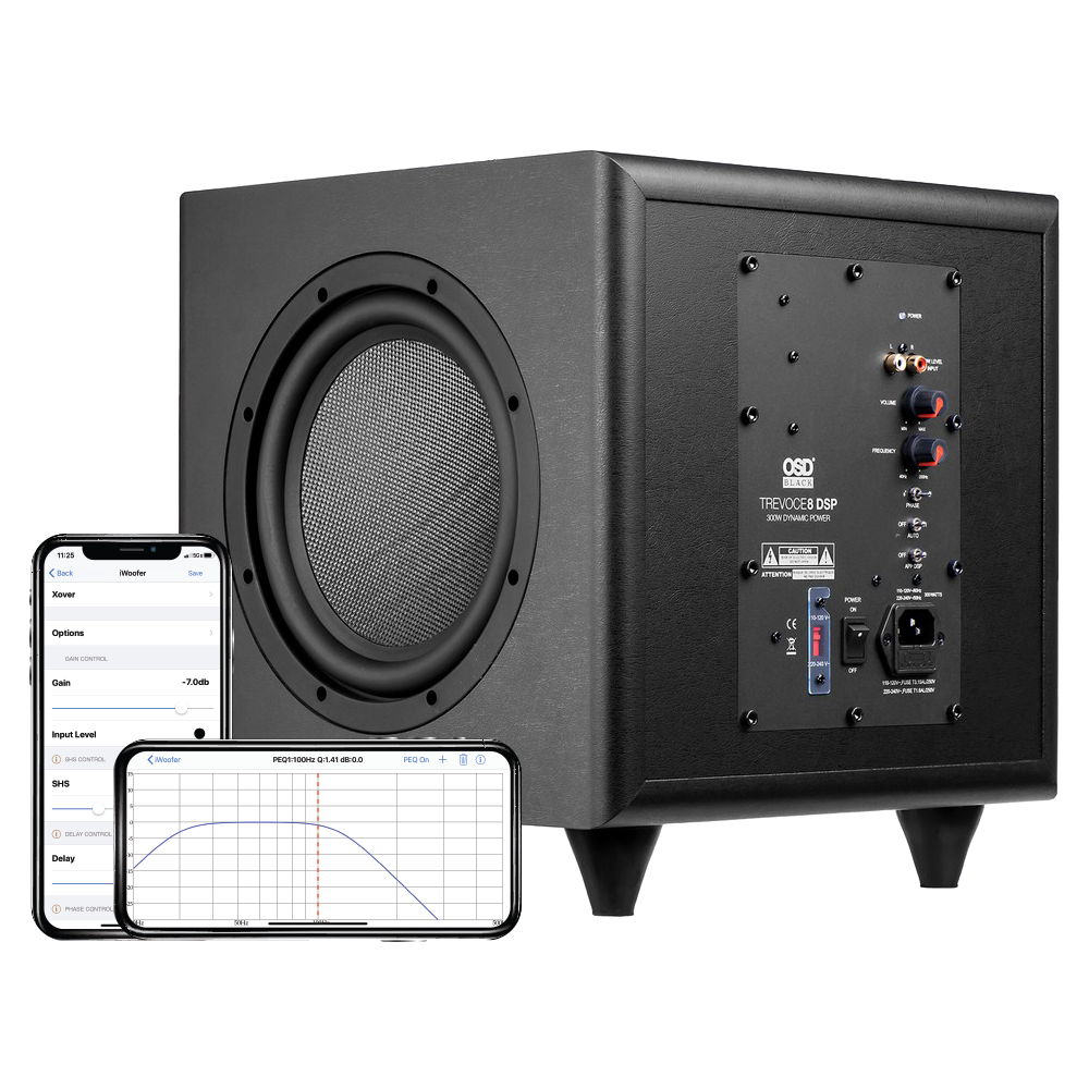 """Trevoce Triple 8"""" Active Subwoofer w/ App Controlled DSP, Native EQ Faux Leather, Black Series"""