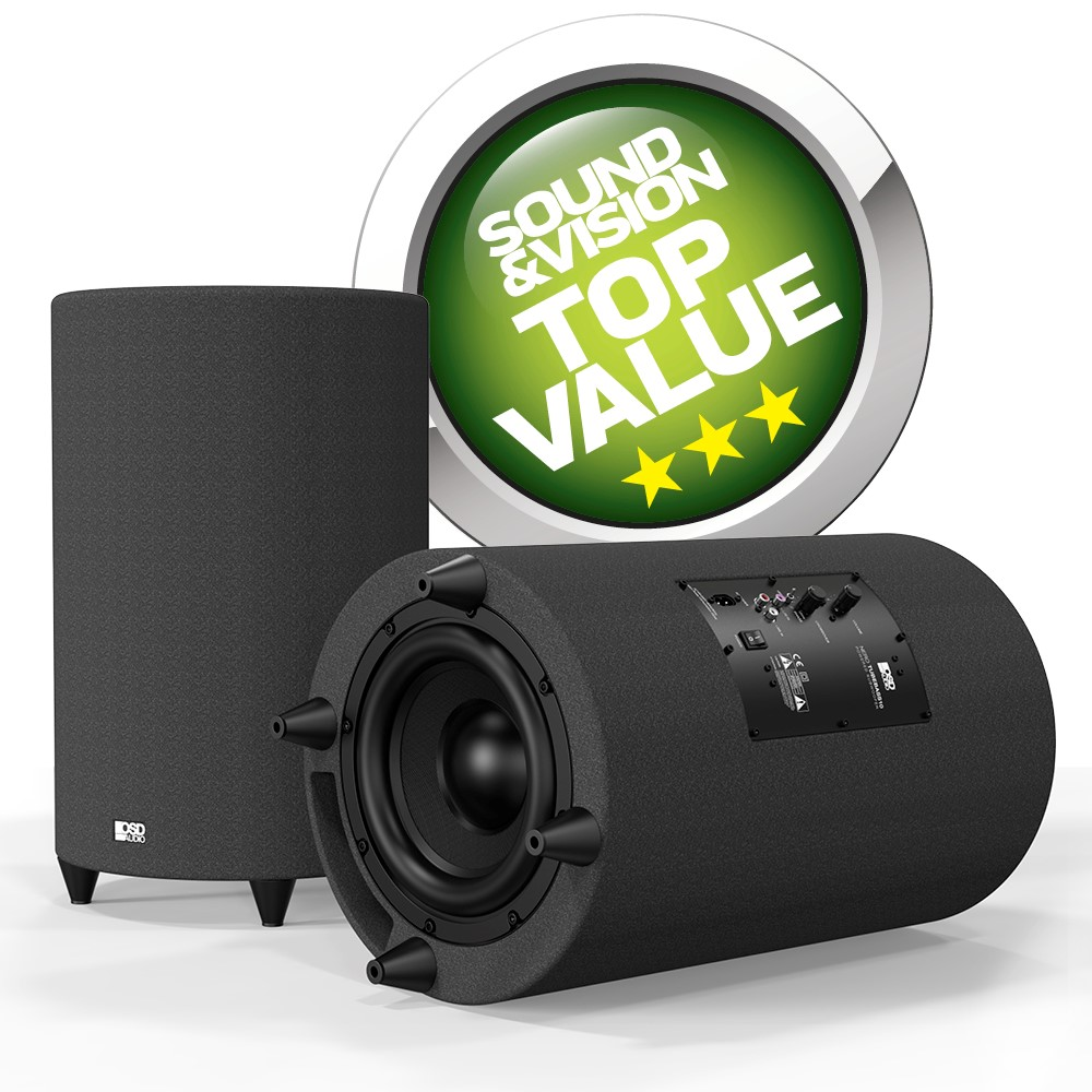 """OSD Nero 10"""" Ported Powered Subwoofer Cylinder Cabinetry Home Theater 400W Class D"""