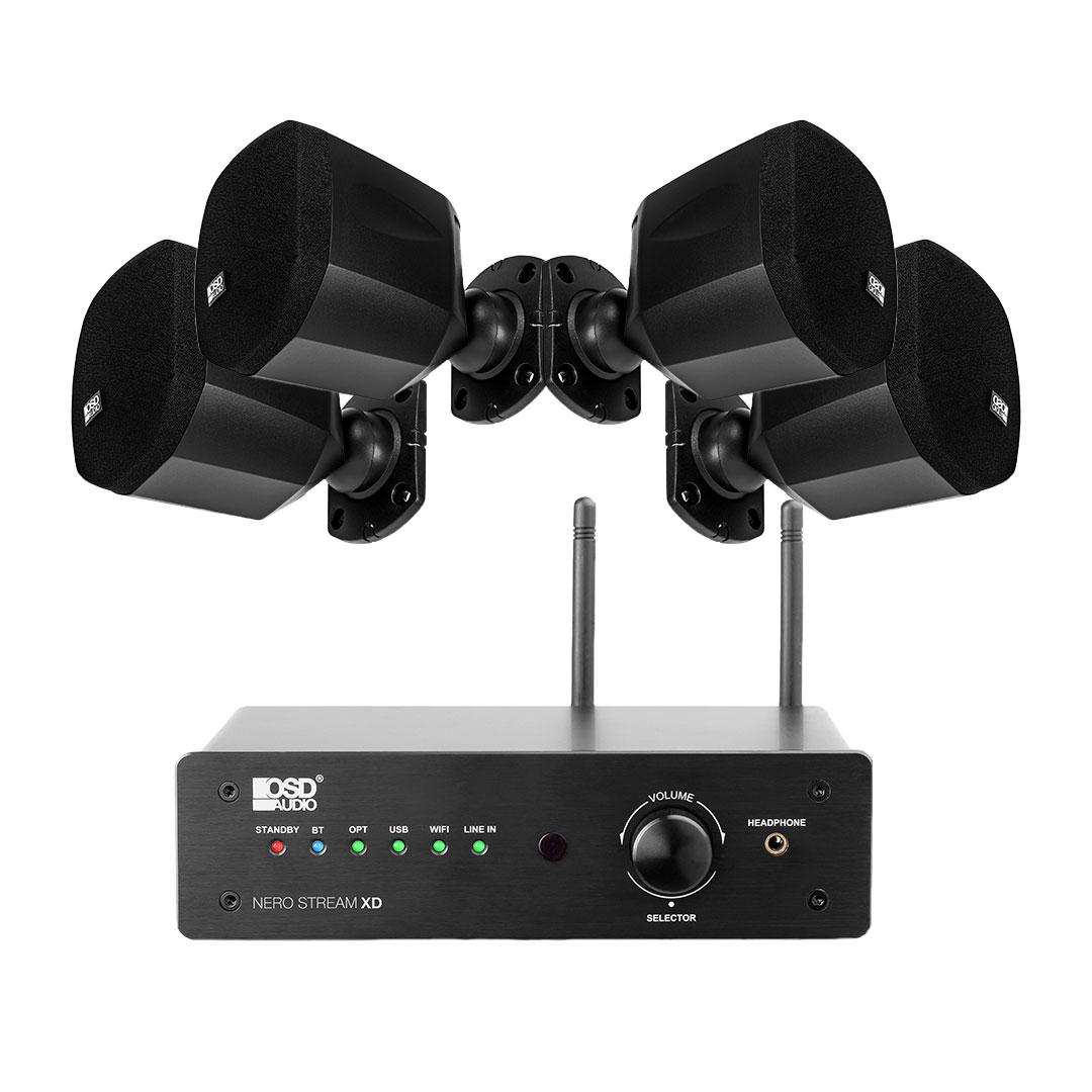NERO Mini Home Theater Satellite Speakers BLK x4 + Nero Stream XD 200W Hi-Fi DAC Class D Amplifier