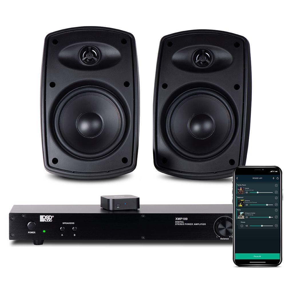 "XMP100 Class D Amplifier w/ Nero Link WiFi App Music Controller & AP525 5.25"" Patio Speaker Pair"